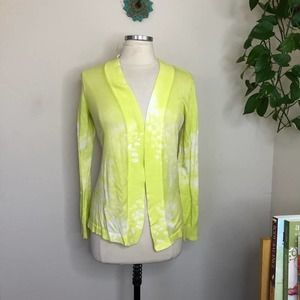 Chico's open front cardigan sweater citron small